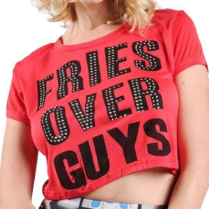 FRIES OVER GUYS Graphic Studded Crop Top NWT - XL